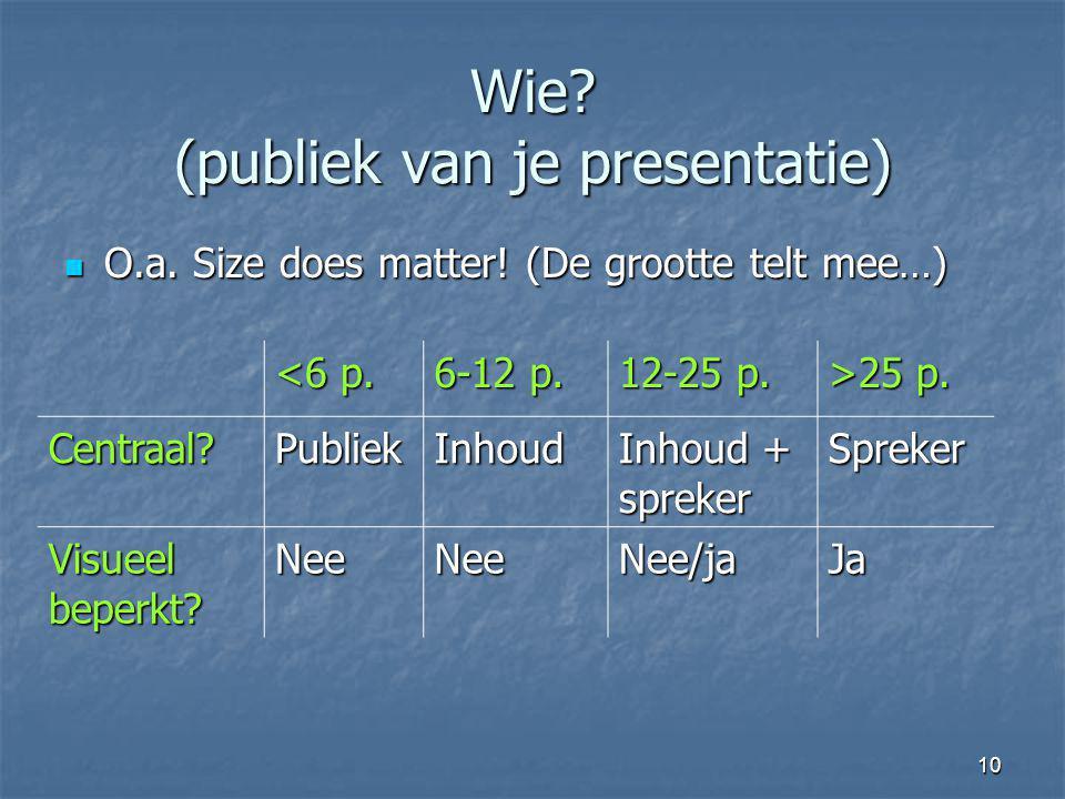 Wie (publiek van je presentatie)