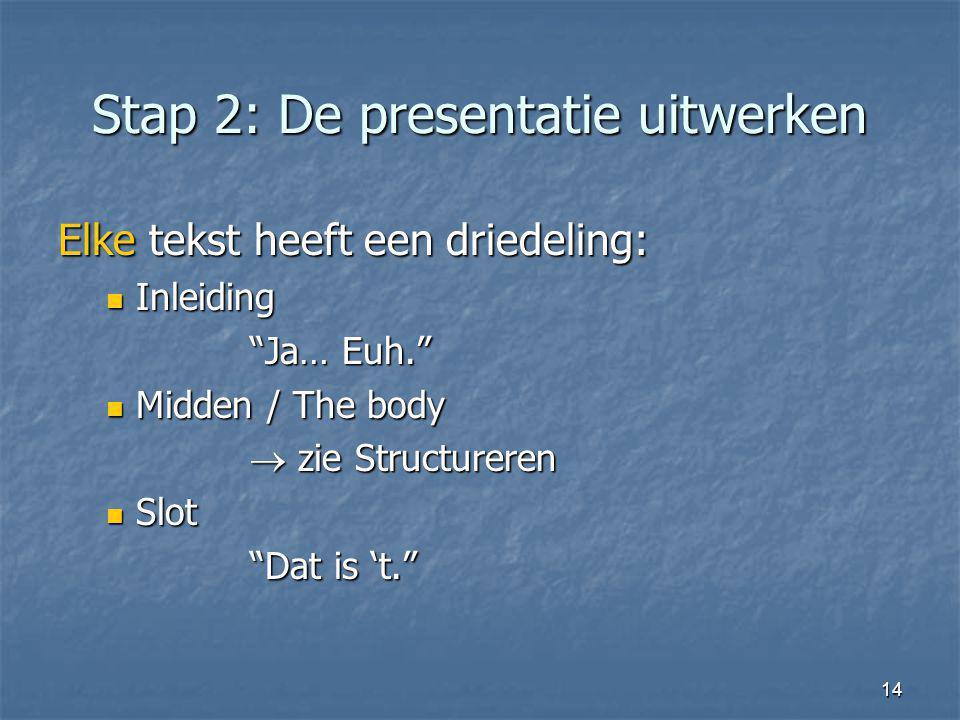 Stap 2: De presentatie uitwerken