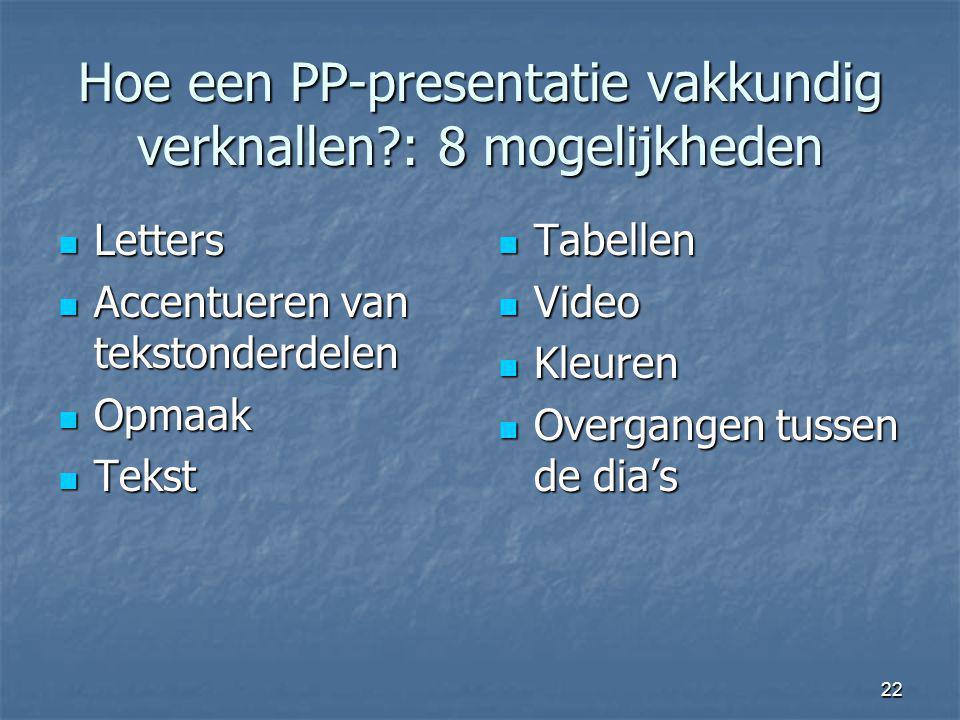 Hoe een PP-presentatie vakkundig verknallen : 8 mogelijkheden