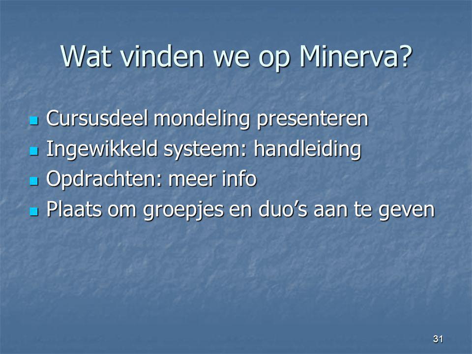 Wat vinden we op Minerva