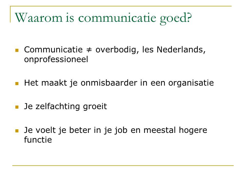 Waarom is communicatie goed