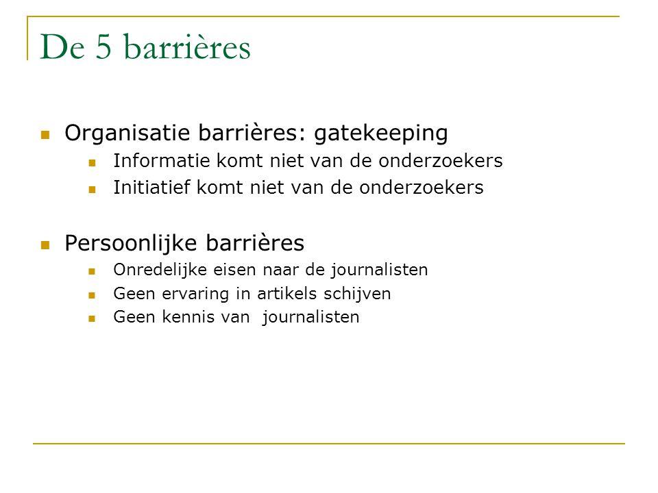 De 5 barrières Organisatie barrières: gatekeeping