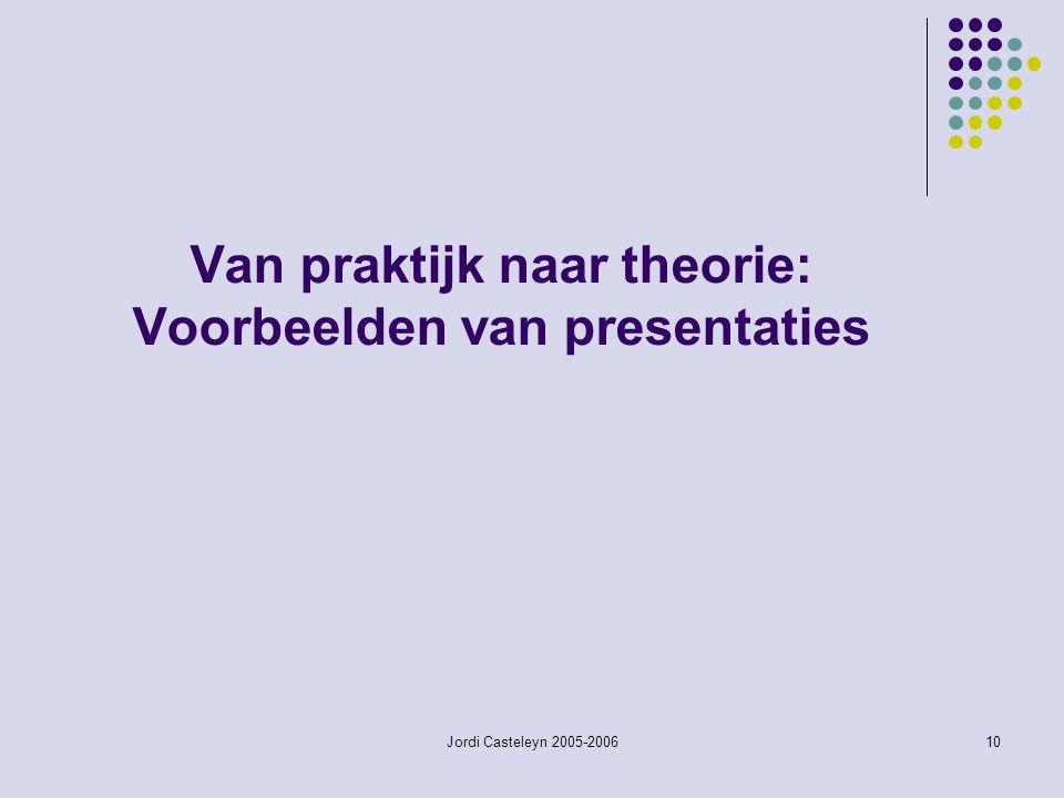 Van praktijk naar theorie: Voorbeelden van presentaties