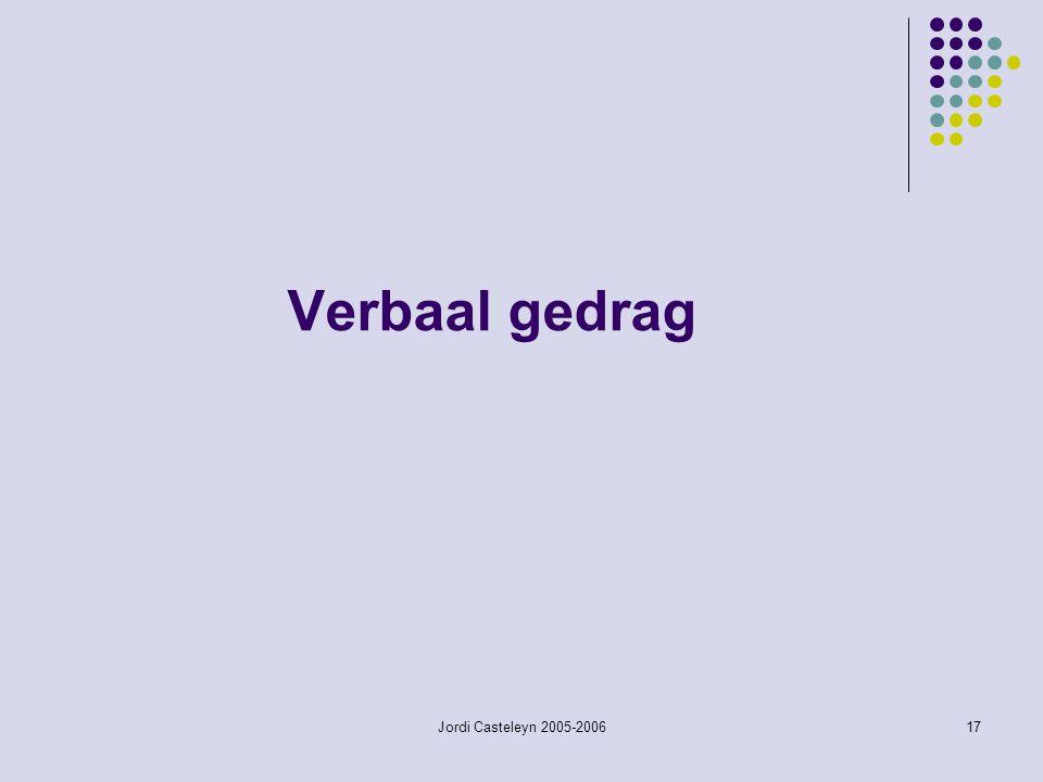 Verbaal gedrag Jordi Casteleyn 2005-2006