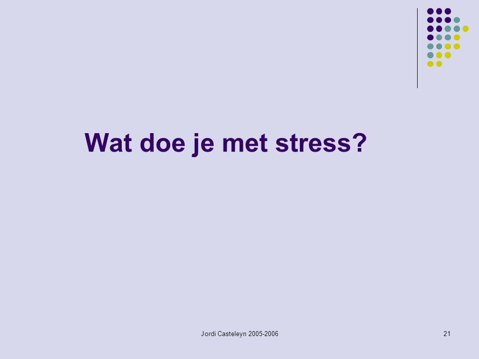 Wat doe je met stress Jordi Casteleyn 2005-2006
