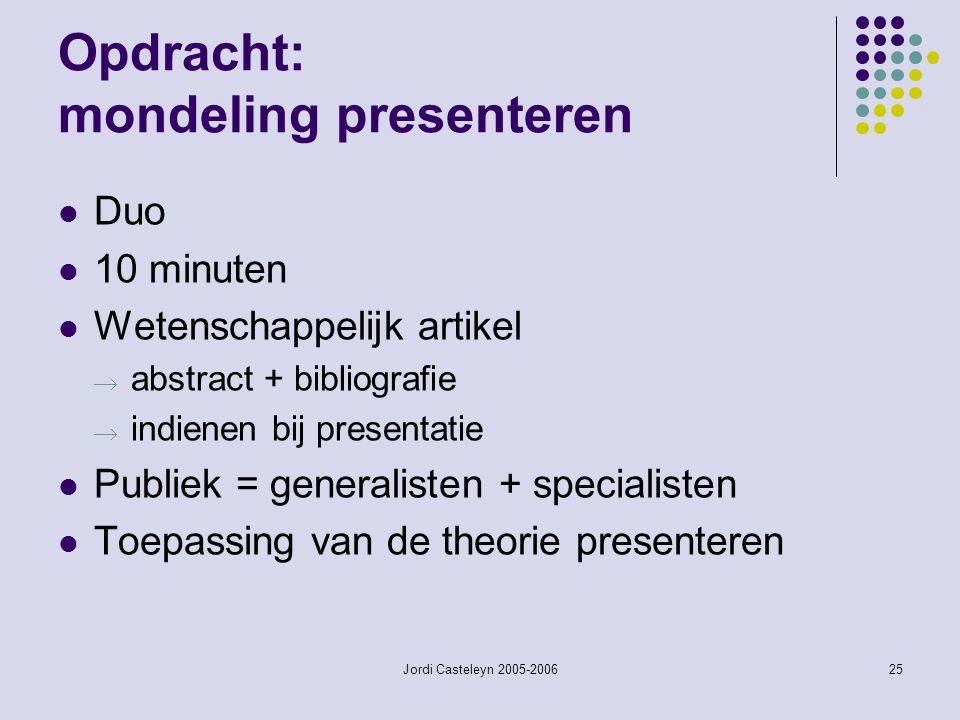 Opdracht: mondeling presenteren
