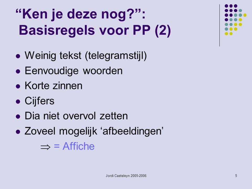 Ken je deze nog : Basisregels voor PP (2)