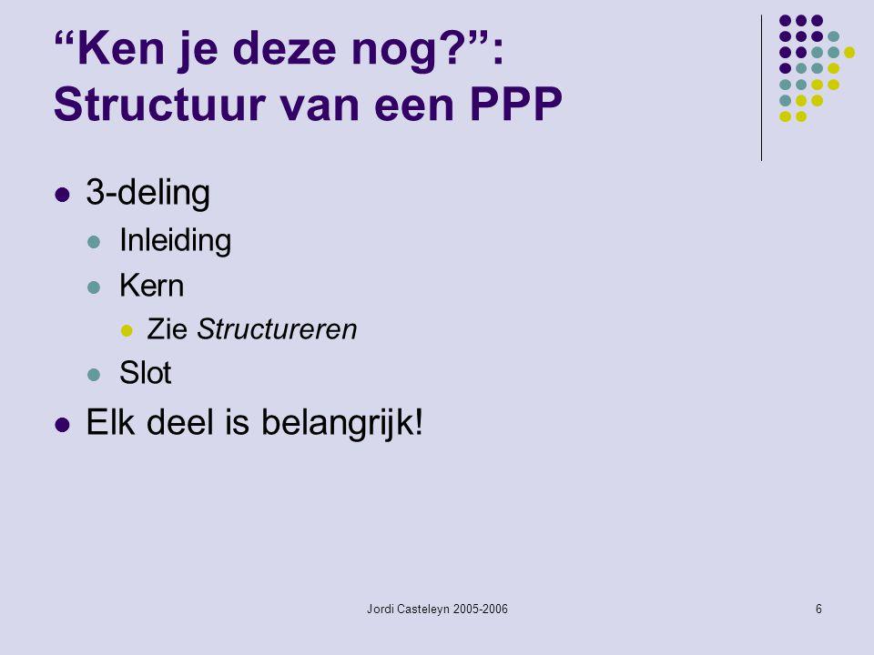Ken je deze nog : Structuur van een PPP
