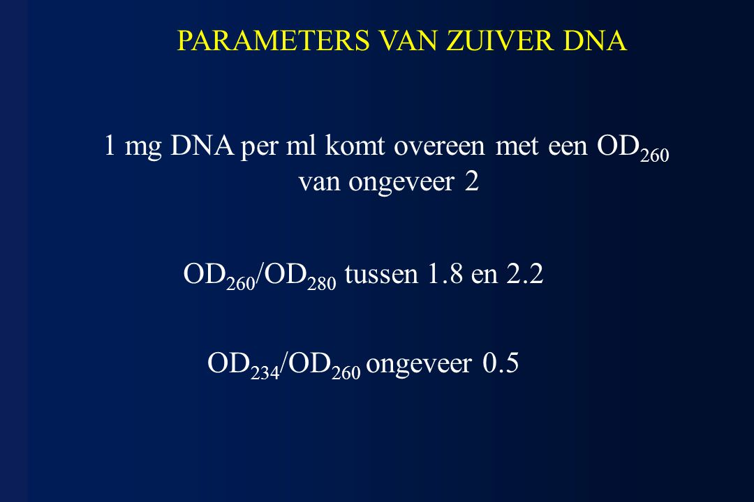 PARAMETERS VAN ZUIVER DNA