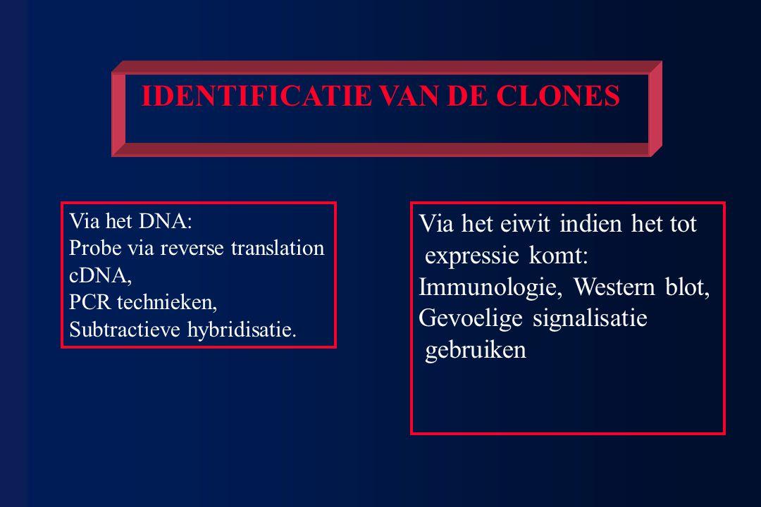 IDENTIFICATIE VAN DE CLONES