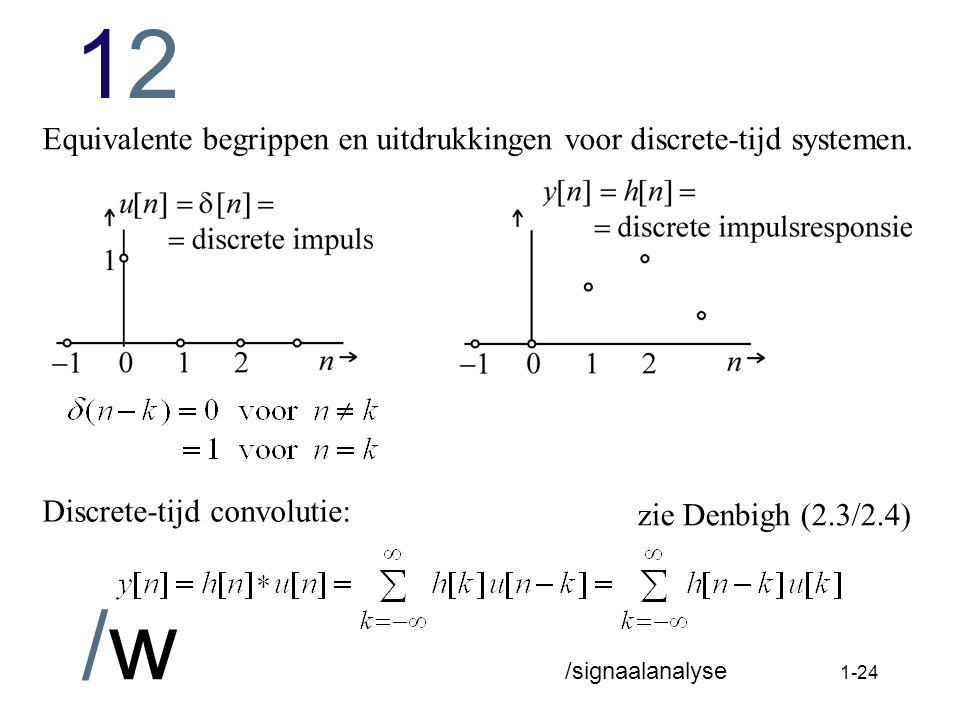 Equivalente begrippen en uitdrukkingen voor discrete-tijd systemen.