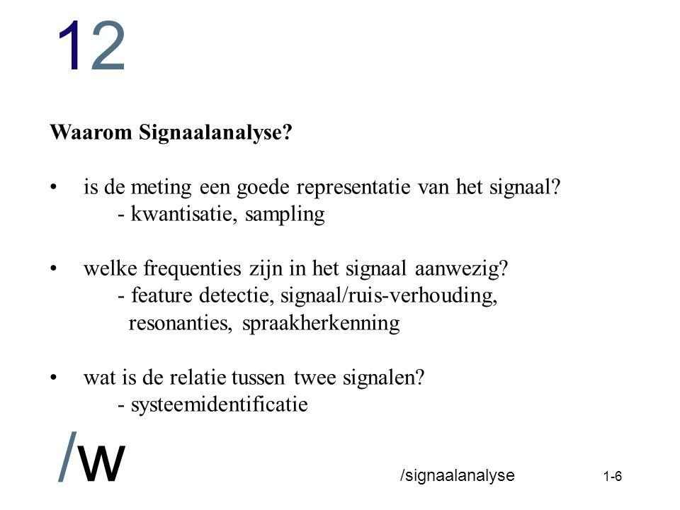 Waarom Signaalanalyse