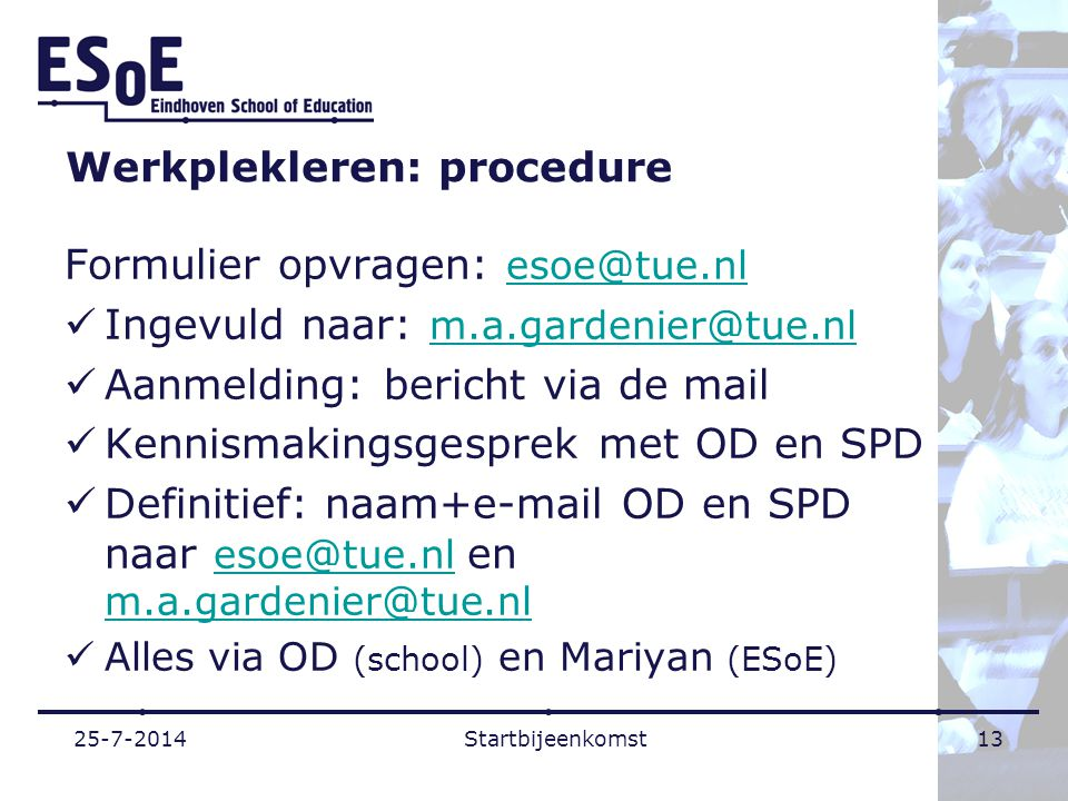 Werkplekleren: procedure