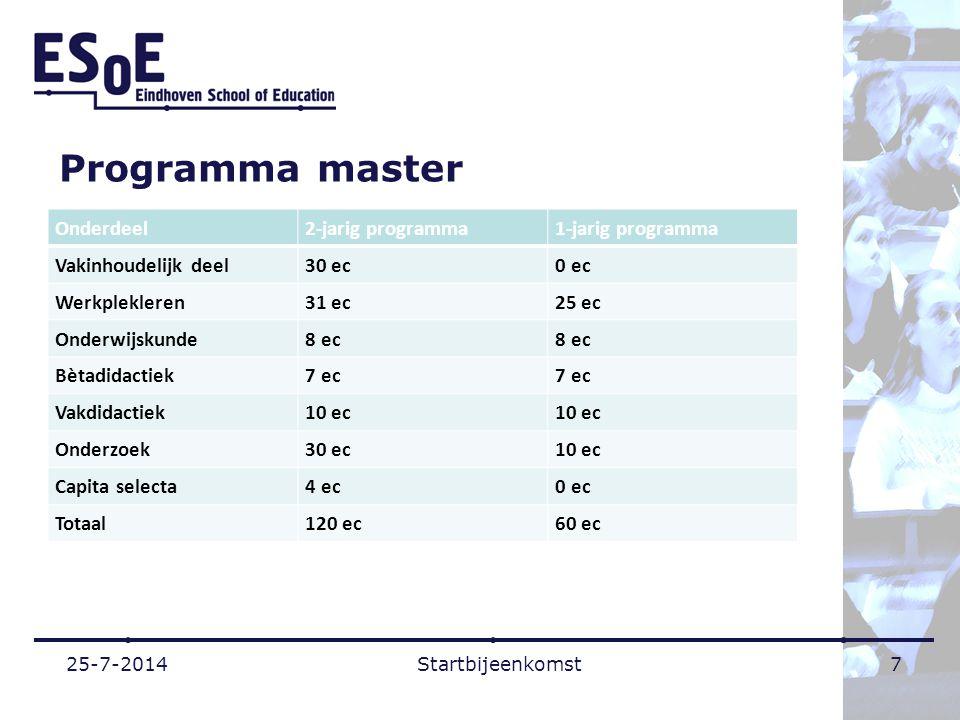 Programma master Onderdeel 2-jarig programma 1-jarig programma