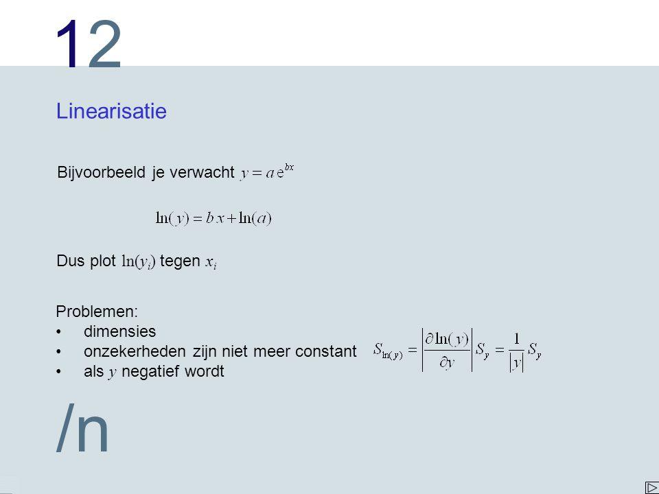 Linearisatie Bijvoorbeeld je verwacht Dus plot ln(yi) tegen xi