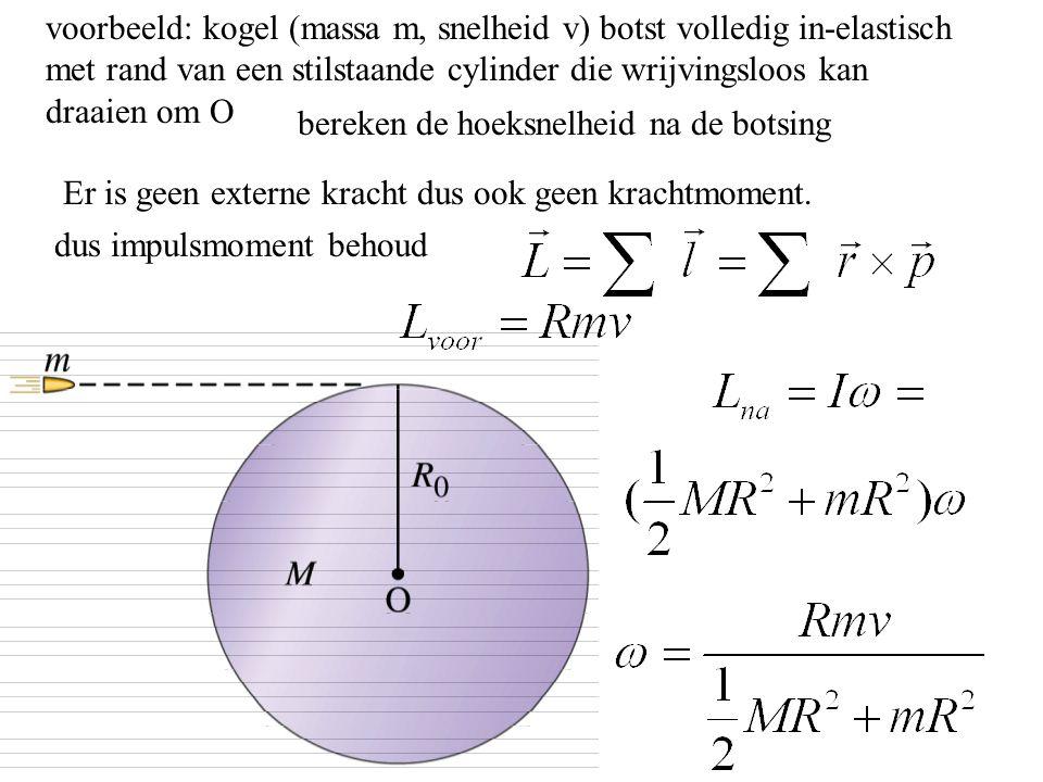 voorbeeld: kogel (massa m, snelheid v) botst volledig in-elastisch met rand van een stilstaande cylinder die wrijvingsloos kan draaien om O