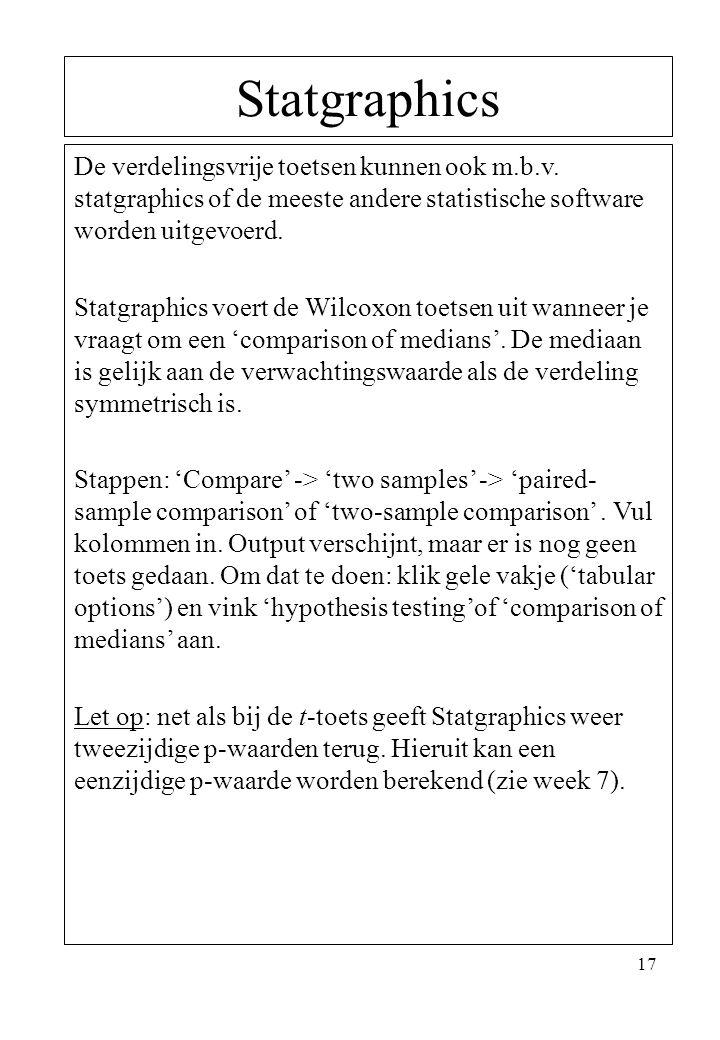 Statgraphics De verdelingsvrije toetsen kunnen ook m.b.v. statgraphics of de meeste andere statistische software worden uitgevoerd.
