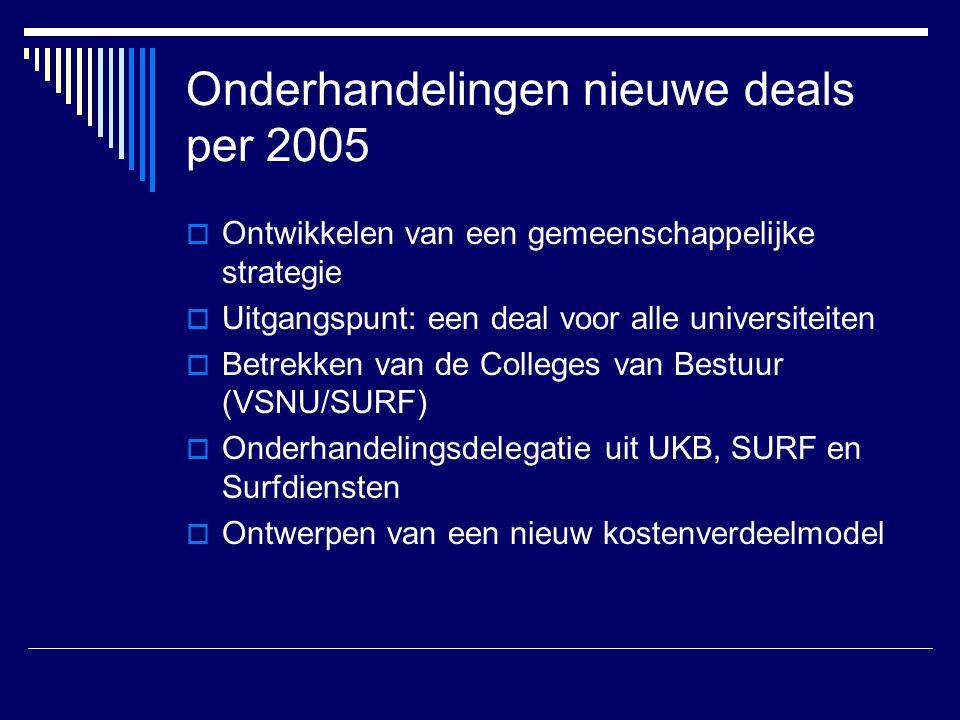 Onderhandelingen nieuwe deals per 2005