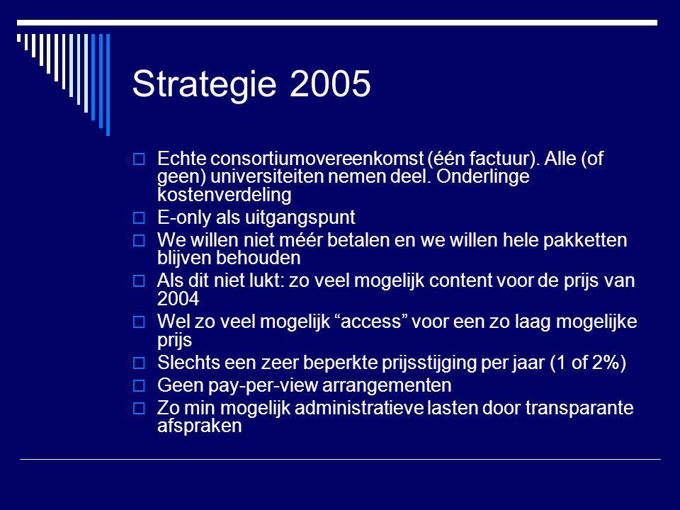 Strategie 2005 Echte consortiumovereenkomst (één factuur). Alle (of geen) universiteiten nemen deel. Onderlinge kostenverdeling.