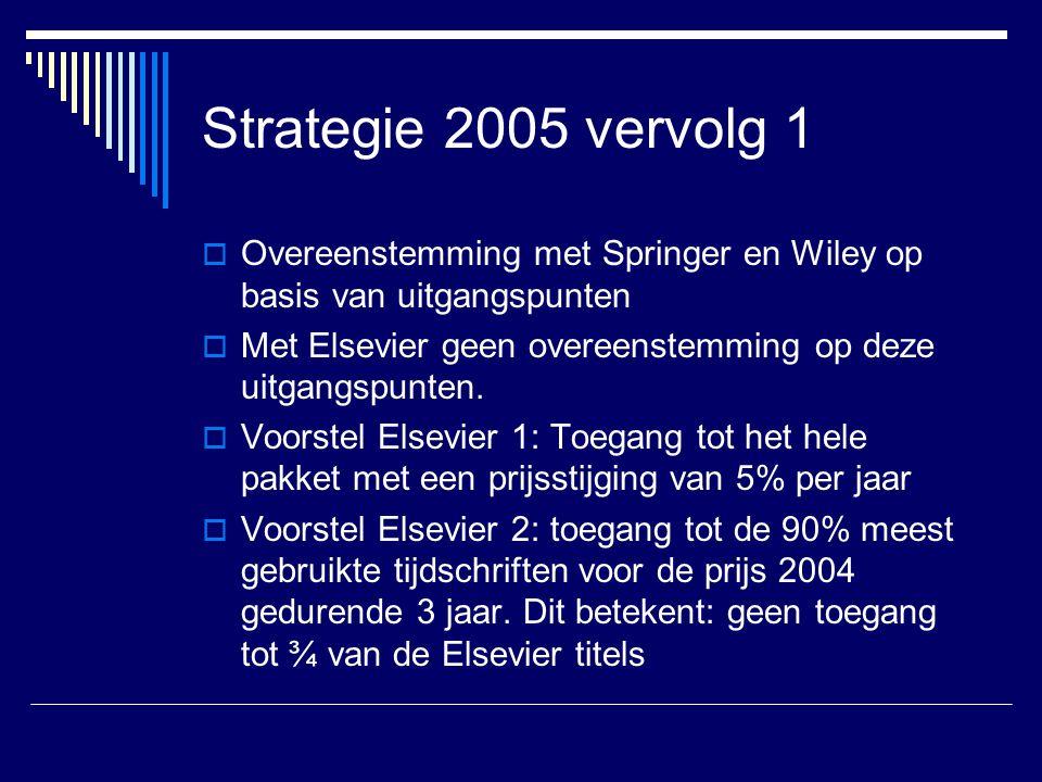Strategie 2005 vervolg 1 Overeenstemming met Springer en Wiley op basis van uitgangspunten.