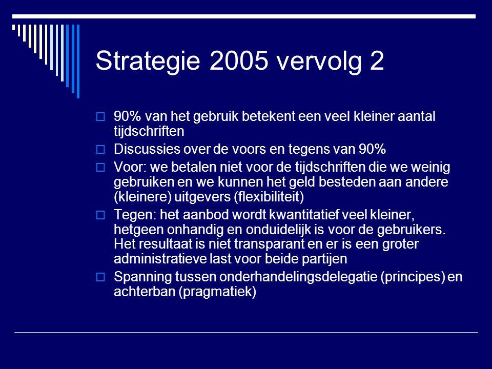 Strategie 2005 vervolg 2 90% van het gebruik betekent een veel kleiner aantal tijdschriften. Discussies over de voors en tegens van 90%