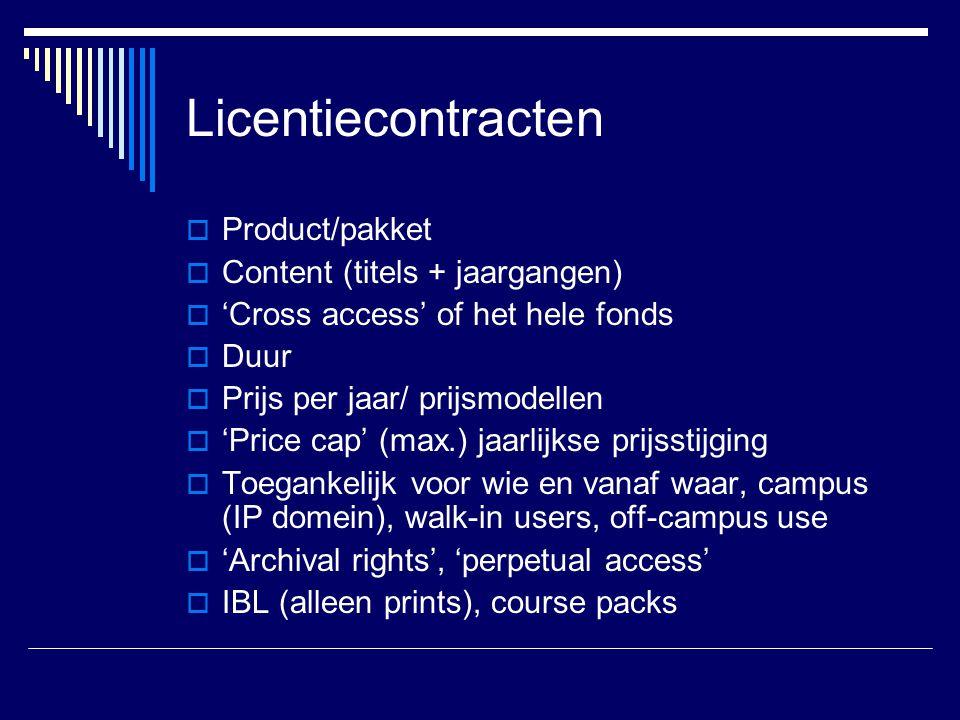 Licentiecontracten Product/pakket Content (titels + jaargangen)