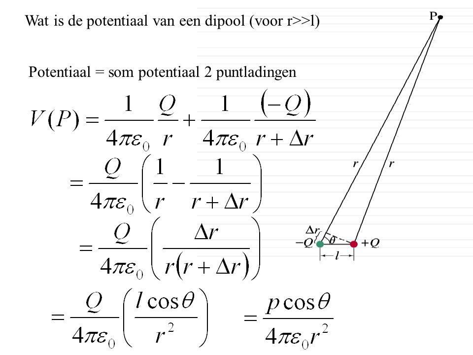 Wat is de potentiaal van een dipool (voor r>>l)