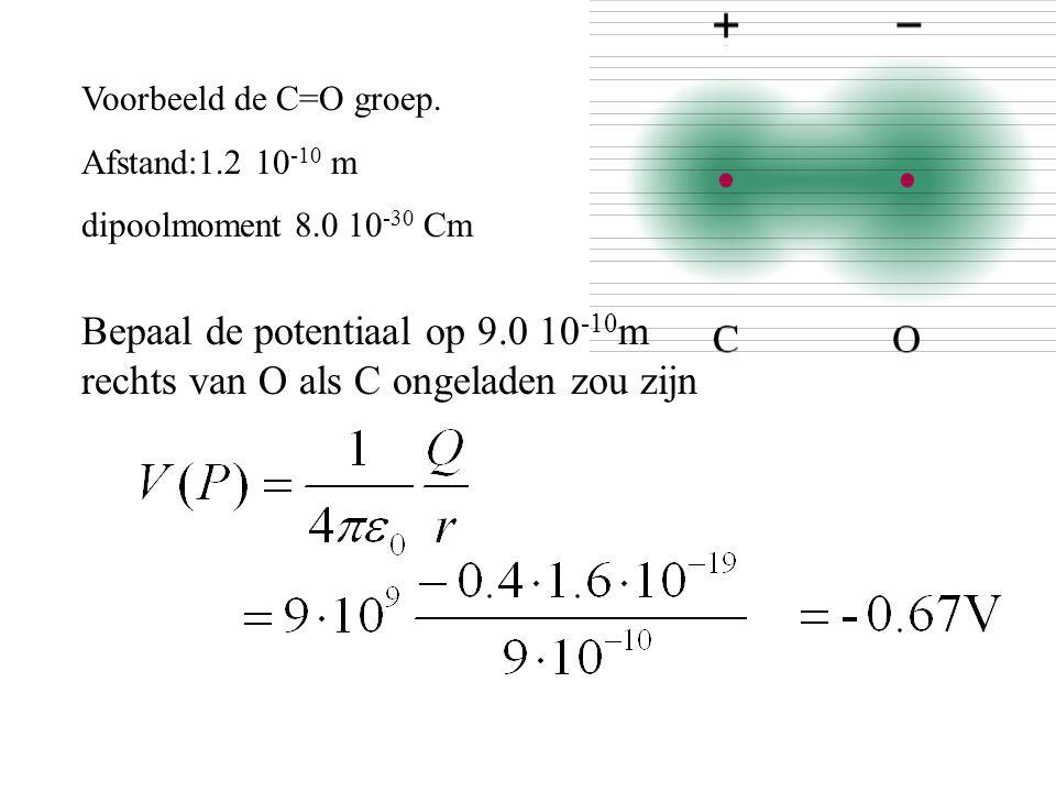 Voorbeeld de C=O groep. Afstand:1.2 10-10 m. dipoolmoment 8.0 10-30 Cm.