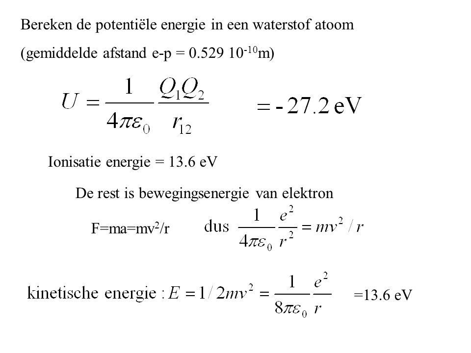 Bereken de potentiële energie in een waterstof atoom