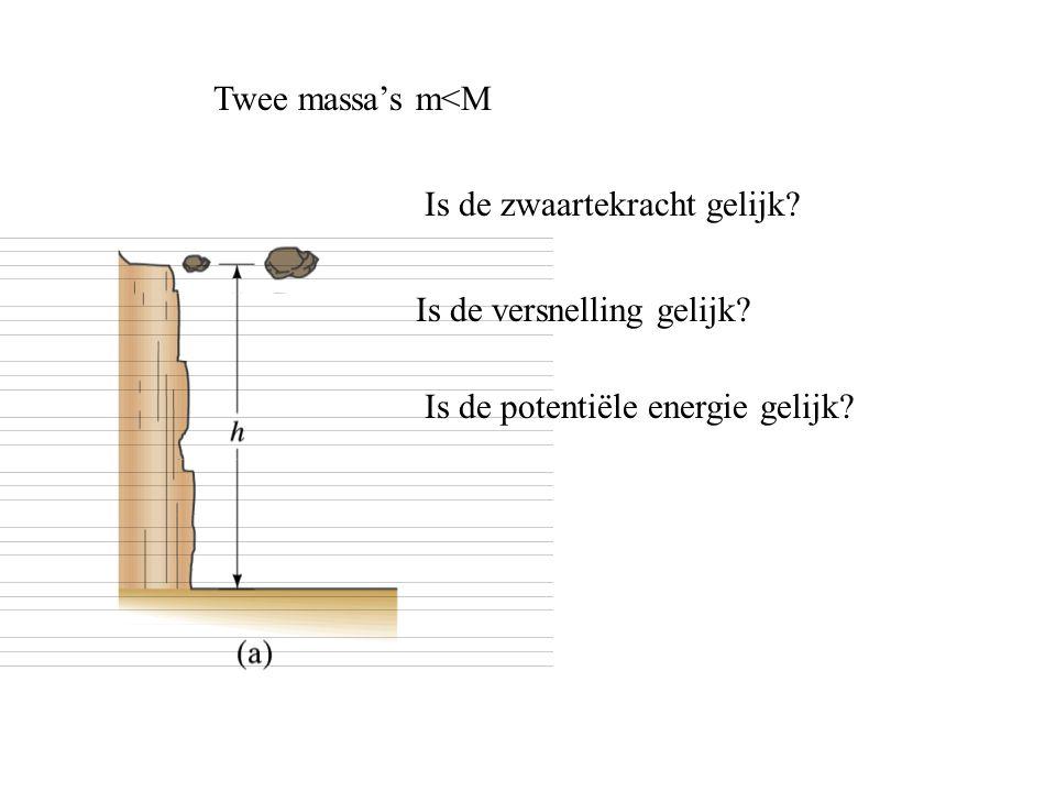 Twee massa's m<M Is de zwaartekracht gelijk. Is de versnelling gelijk.