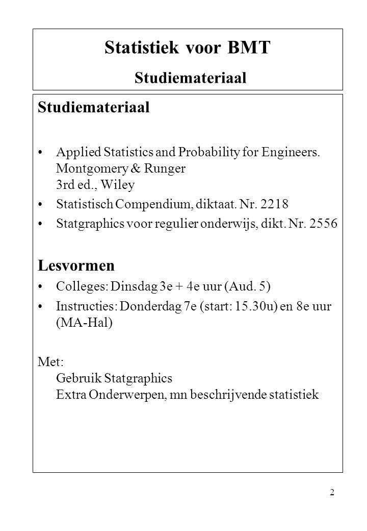 Statistiek voor BMT Studiemateriaal