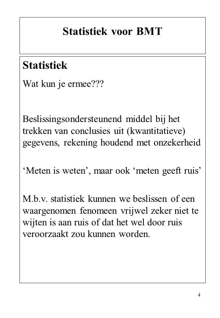 Statistiek voor BMT Statistiek Wat kun je ermee