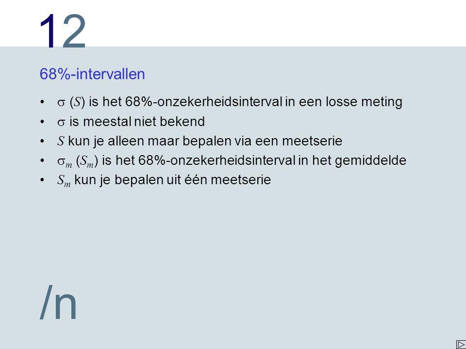 68%-intervallen  (S) is het 68%-onzekerheidsinterval in een losse meting.  is meestal niet bekend.