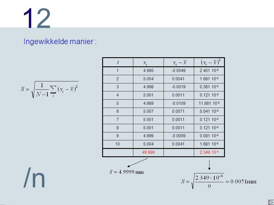 Ingewikkelde manier : 10. 9. 8. 7. 6. 5. 4. 3. 2. 1. 5.004. 4.999. 5.001. 5.007. 4.989.