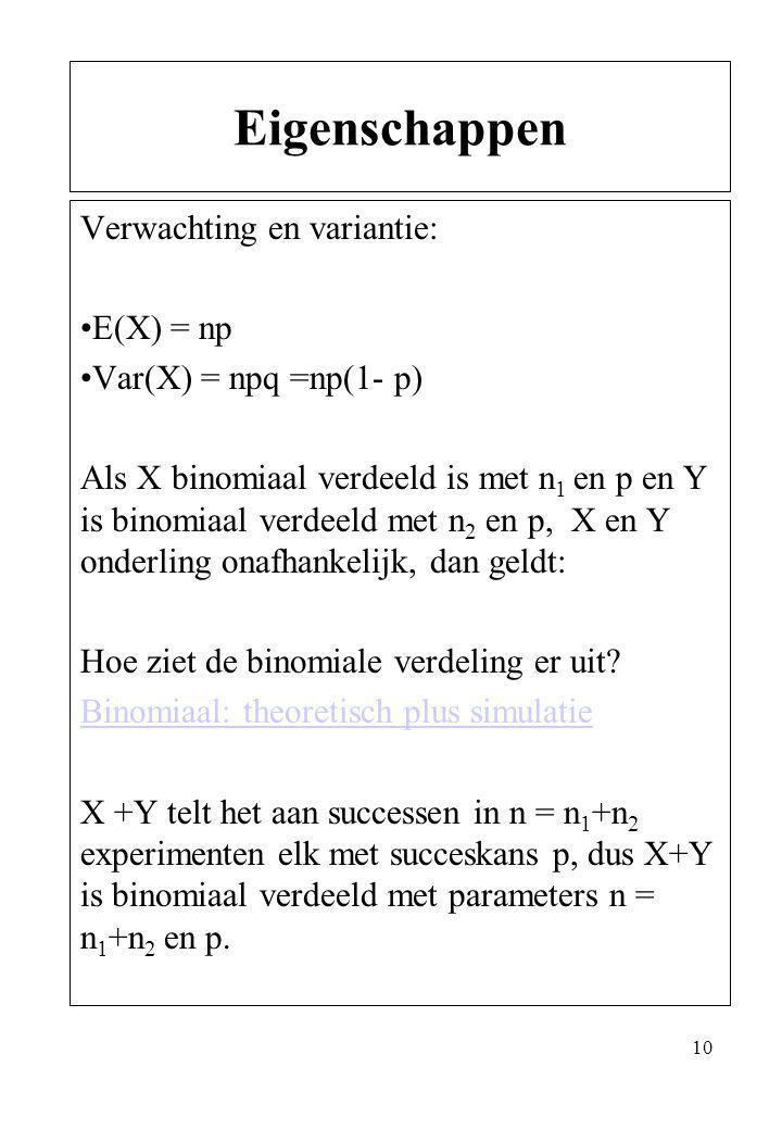 Eigenschappen Verwachting en variantie: E(X) = np