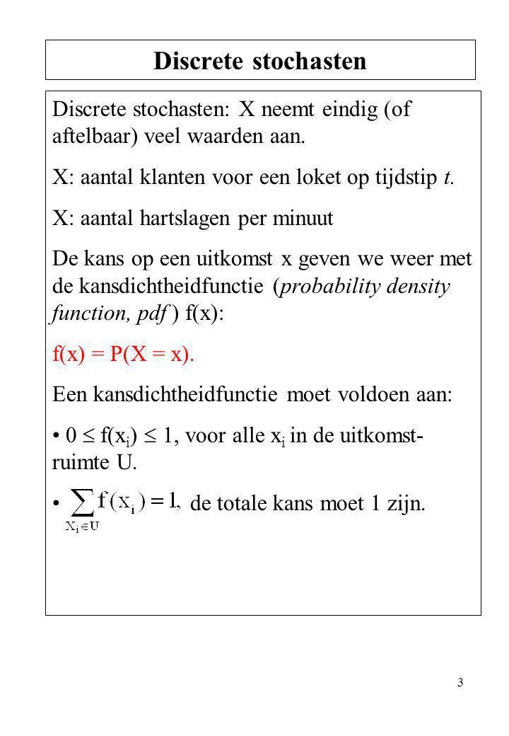 Discrete stochasten Discrete stochasten: X neemt eindig (of aftelbaar) veel waarden aan. X: aantal klanten voor een loket op tijdstip t.