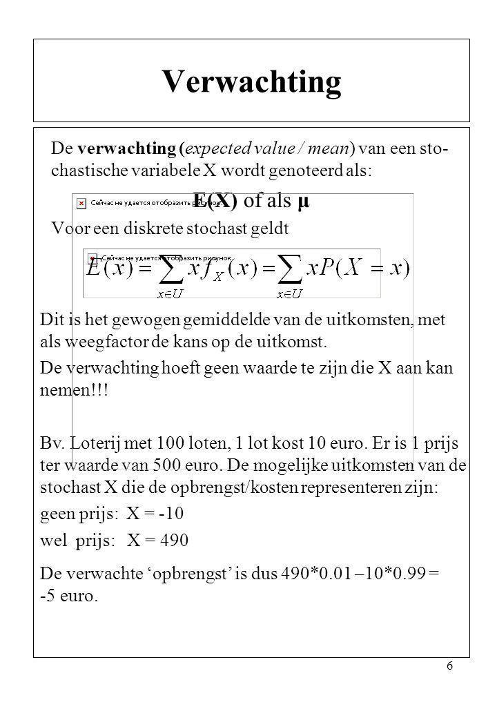 Verwachting E(X) of als μ