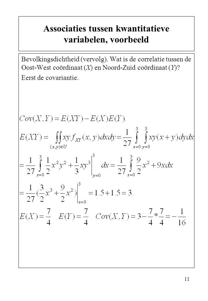 Associaties tussen kwantitatieve variabelen, voorbeeld