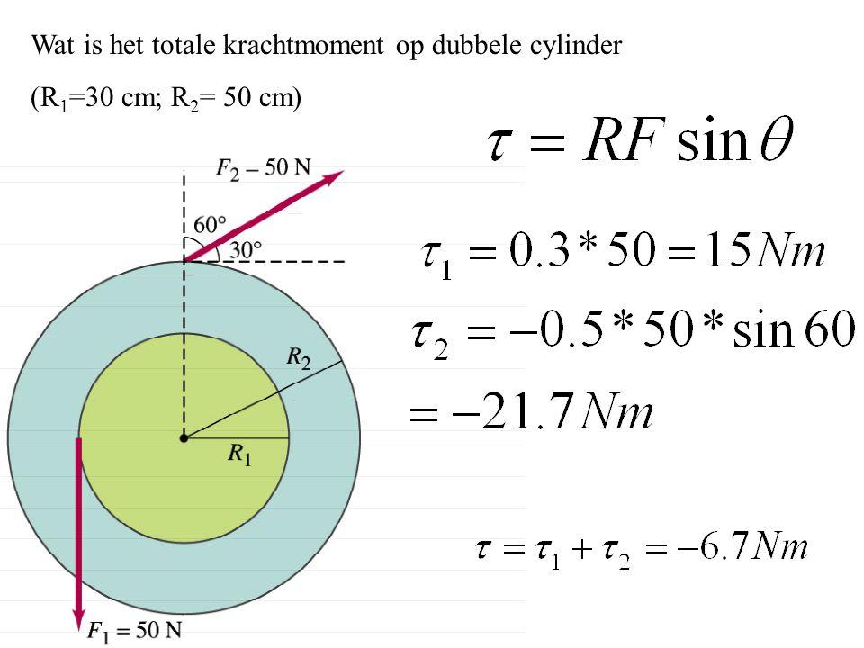 Wat is het totale krachtmoment op dubbele cylinder