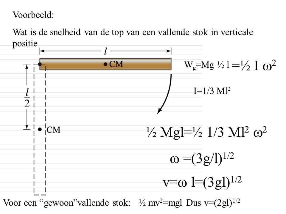 =½ I w2 ½ Mgl=½ 1/3 Ml2 w2 w =(3g/l)1/2 v=w l=(3gl)1/2 Voorbeeld: