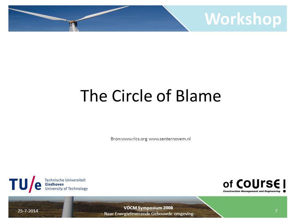 Workshop The Circle of Blame Bron:www.rics.org www.senternovem.nl