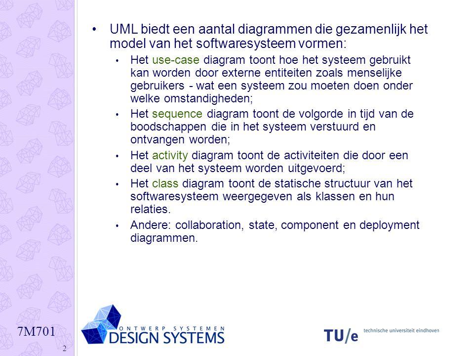 UML biedt een aantal diagrammen die gezamenlijk het model van het softwaresysteem vormen: