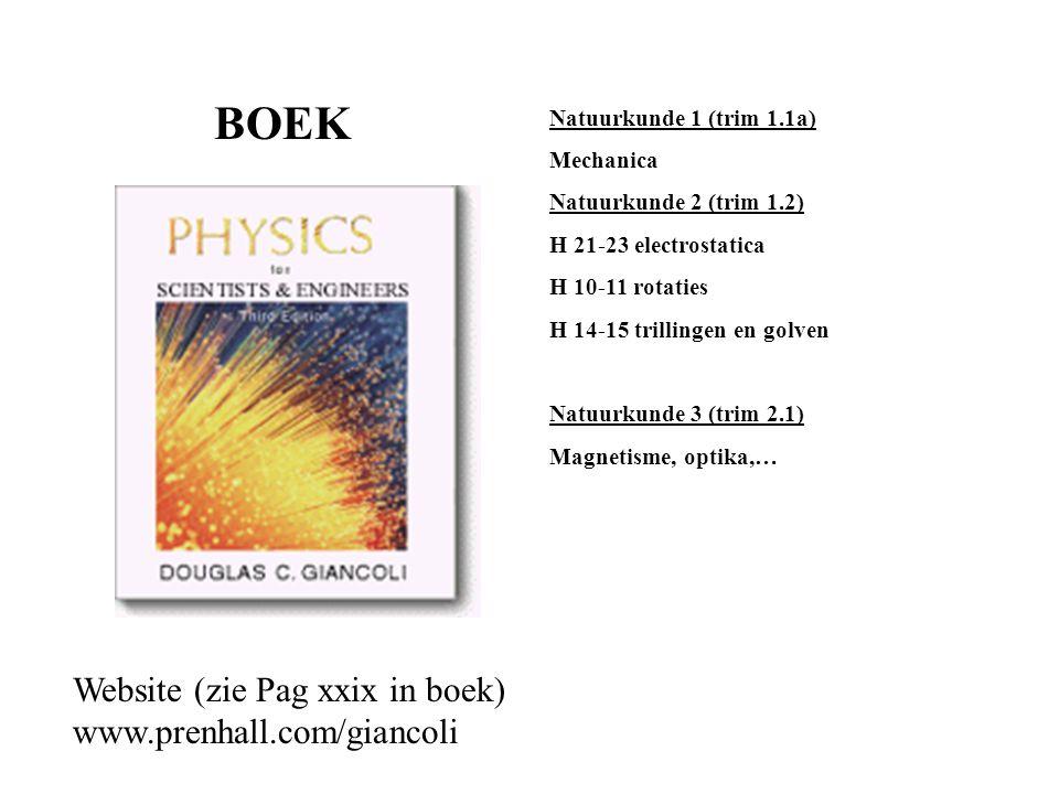 BOEK Website (zie Pag xxix in boek) www.prenhall.com/giancoli