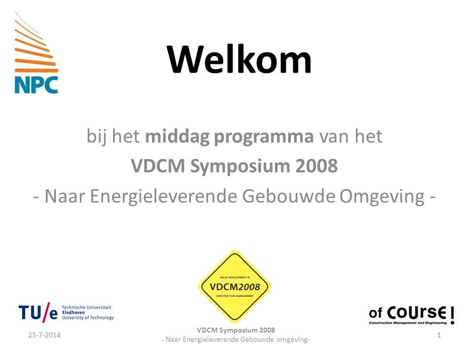 Welkom bij het middag programma van het VDCM Symposium 2008