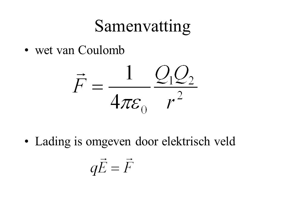 Samenvatting wet van Coulomb Lading is omgeven door elektrisch veld