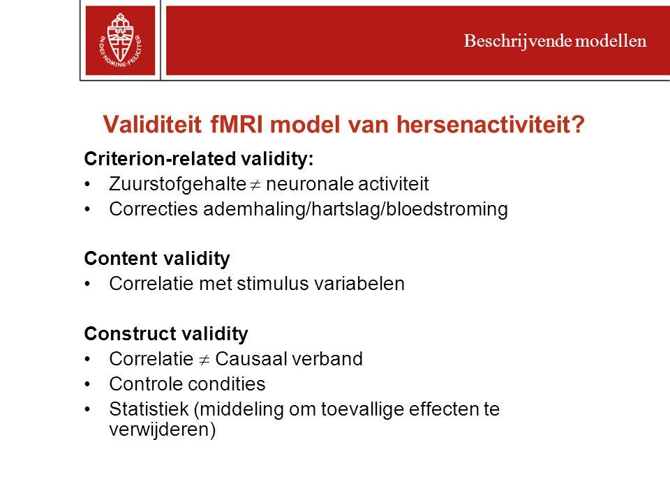 Validiteit fMRI model van hersenactiviteit