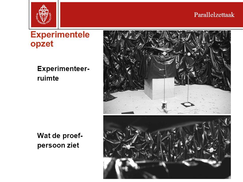 Experimentele opzet Experimenteer- ruimte Wat de proef- persoon ziet