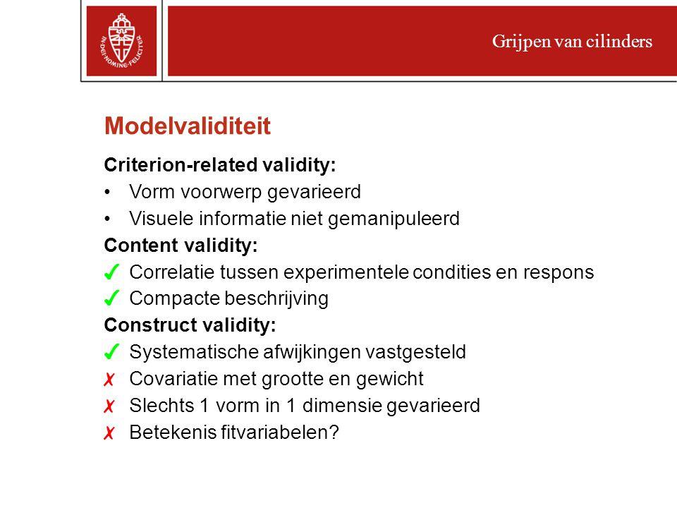 Modelvaliditeit Criterion-related validity: Vorm voorwerp gevarieerd