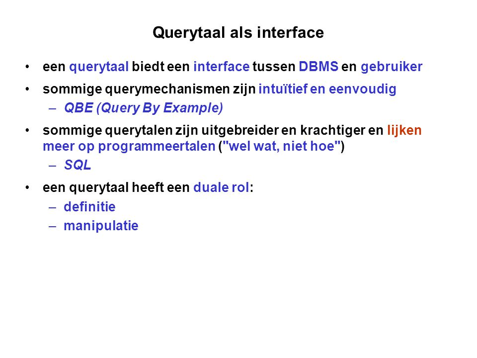 Querytaal als interface