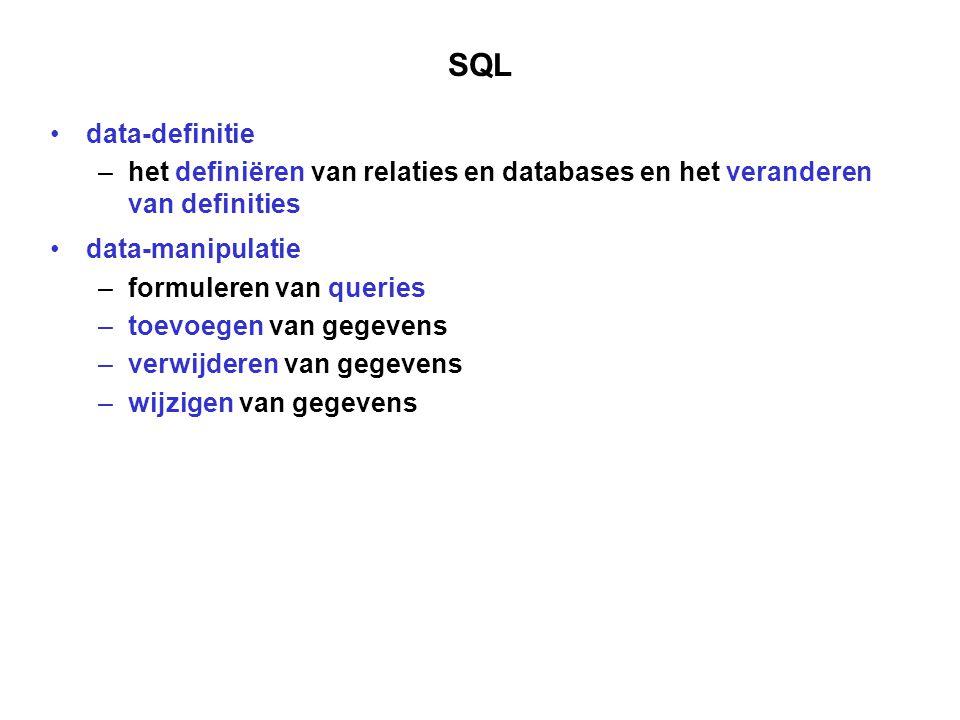 SQL data-definitie. het definiëren van relaties en databases en het veranderen van definities. data-manipulatie.